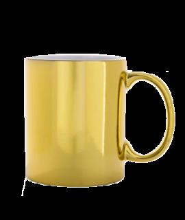 Caneca Cromada Dourada Personalizada | Exista Comunicação